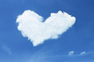 Heart cloud blue sky